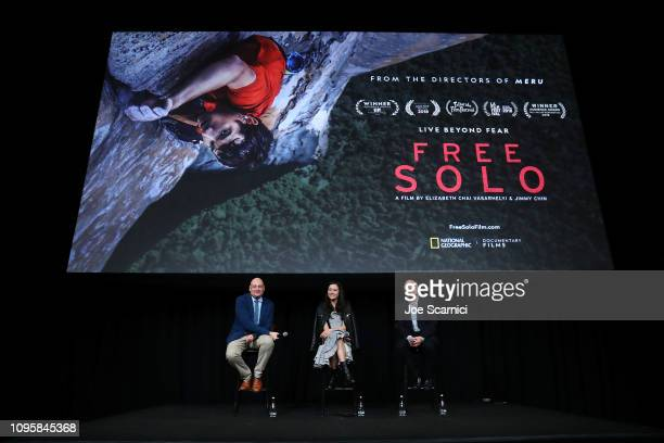 "Chris Albert Elizabeth Chai Vasarhelyi and Bob Eisenhardt speak onstage during a screening of National Geographic Documentary Films ""Free Solo"" at..."
