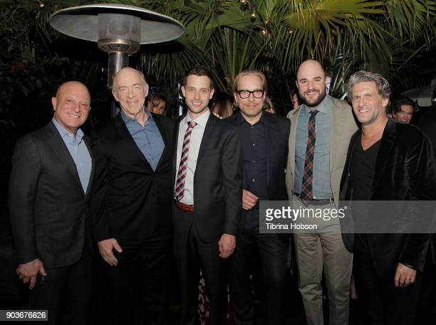 STARZ CEO Chris Albrecht actor J K Simmons showrunner Justin Marks executive producers Morten Tyldum Jordan Horowitz and Gary Gilbert attend the...