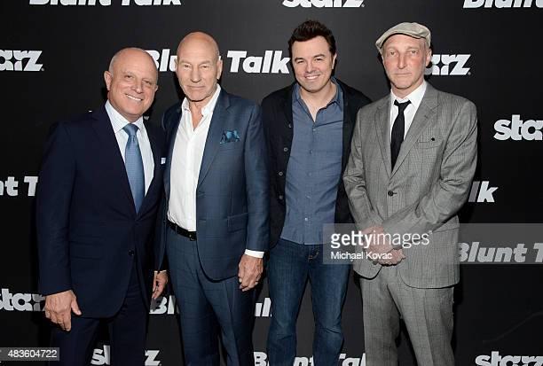 STARZ CEO Chris Albrecht actor Patrick Stewart Executive Producer Seth MacFarlane and writer Jonathan Ames attend the STARZ' Blunt Talk series...