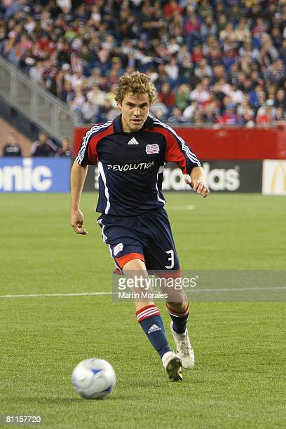 Chris Albright of the New England Revolution controls the ball during the game played between the New England Revolution and the San Jose Earthquakes...