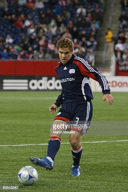 Chris Albright of the New England Revolution handles the ball during the game played against the Chicago Fire at Gillette Stadium on October 30 2008...