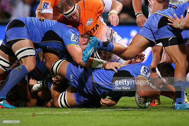 Chris Alcock of the Force crosses for a try during the round nine Super Rugby match between the Force and the Cheetahs at nib Stadium on April 11,...