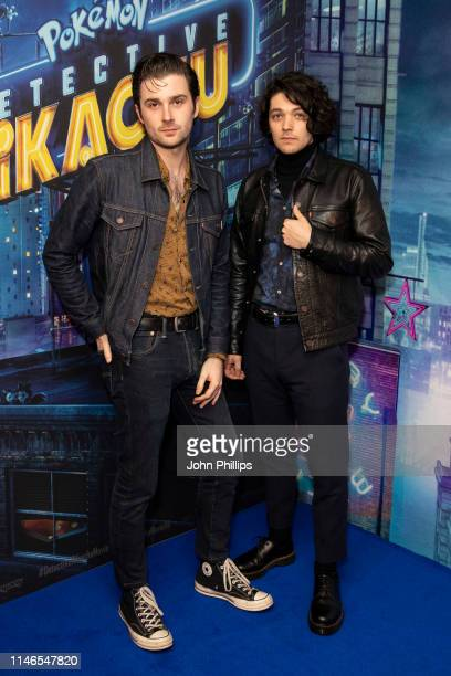 Chris Alderton and Elliott Briggs attend the Pokemon Detective Pikachu Popup at Covent Garden on May 02 2019 in London England