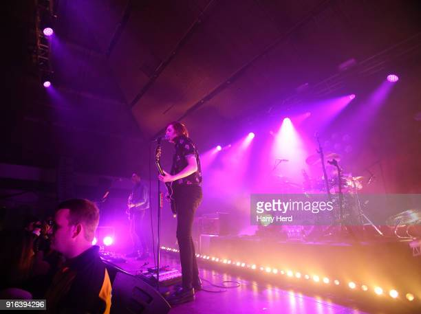 Chris Alderton and Joe Emmet and Matt Thomson and Elliott Briggs of The Amazons perform at Pyramids Plaza on February 9 2018 in Portsmouth England
