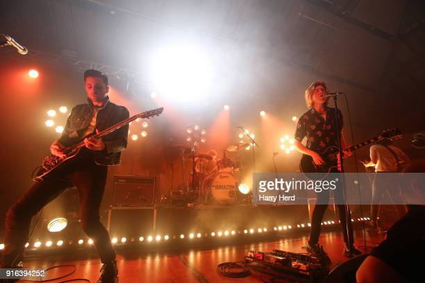 Chris Alderton and Joe Emmett and Matt Thomson and Elliott Briggs of The Amazons perform at Pyramids Plaza on February 9 2018 in Portsmouth England
