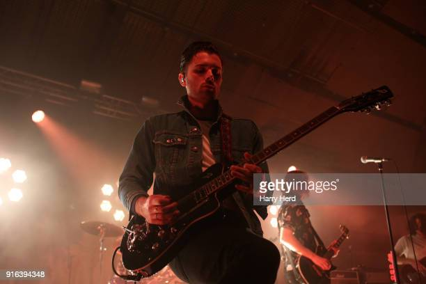 Chris Alderton and Matt Thomson and Elliott Briggs of The Amazons perform at Pyramids Plaza on February 9 2018 in Portsmouth England