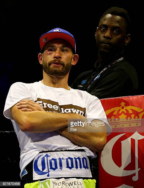 Chris Algieri stands in his corner after he was knocked out by referee stoppage in the fifth round against Errol Spence Jr during their welterwieght...