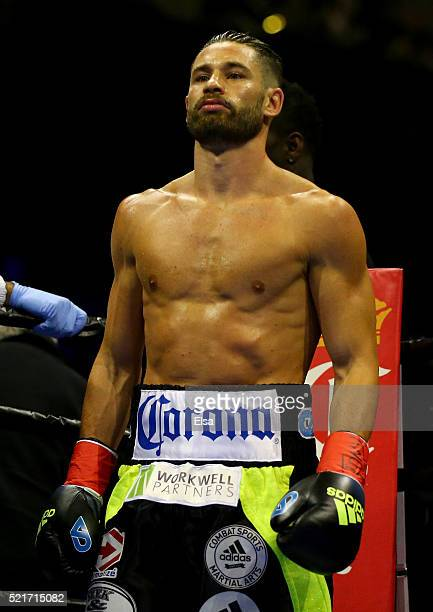 Chris Algieri stands in his corner before round one against Errol Spence Jr during their welterwieght bout at Barclays Center on April 16 2016 in the...