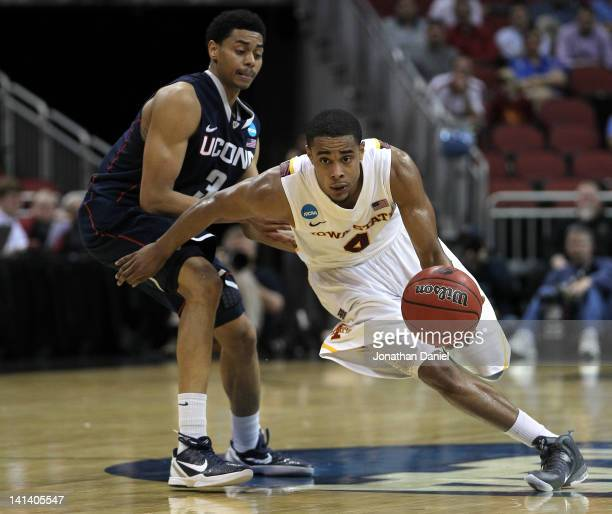Chris Allen of the Iowa State Cyclones drives against Jeremy Lamb of the Connecticut Huskies during the second round of the 2012 NCAA Men's...
