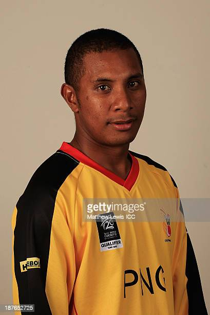 Chris Amini Captain of Papua New Guinea pictured during a headshot session ahead of the ICC World Twenty20 Qualifiers on November 11 2013 in Dubai...