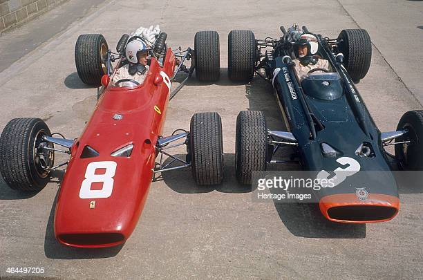 Chris Amon and Jackie Stewart at the British Grand Prix Silverstone Northamptonshire 1967 Amon took third place in his Ferrari while a transmission...