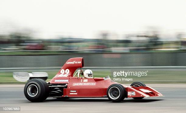 Chris Amon drives the Ensign Cosworth N176 during practice for the XXVIII BRDC Graham Hill International Trophy on 10 April 1976 at the Silverstone...