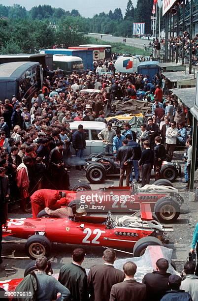 Chris Amon Ferrari 312 in Spa paddock, Belgian GP, 9th June 1968.