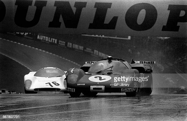 Chris AmonArturo Merzario's Ferrari 512 Spyder and Charles LucasDigby Martland's Chevron B16 Ford entering Druid's Hill Hairpin BOAC 1000kms Brands...