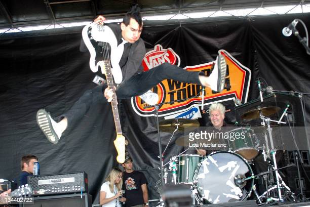 Chris and Pat Thetic of AntiFlag during 2004 Vans Warped Tour Randall's Island at Randall's Island in New York City New York United States