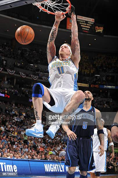 Chris Andersen of the Denver Nuggets goes to the basket against the Utah Jazz in Game Five of the Western Conference Quarterfinals during the 2010...