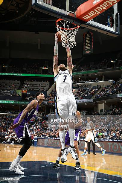 Chris Andersen of the Memphis Grizzlies goes for the dunk during the game against the Sacramento Kings on March 2 2016 at FedExForum in Memphis...
