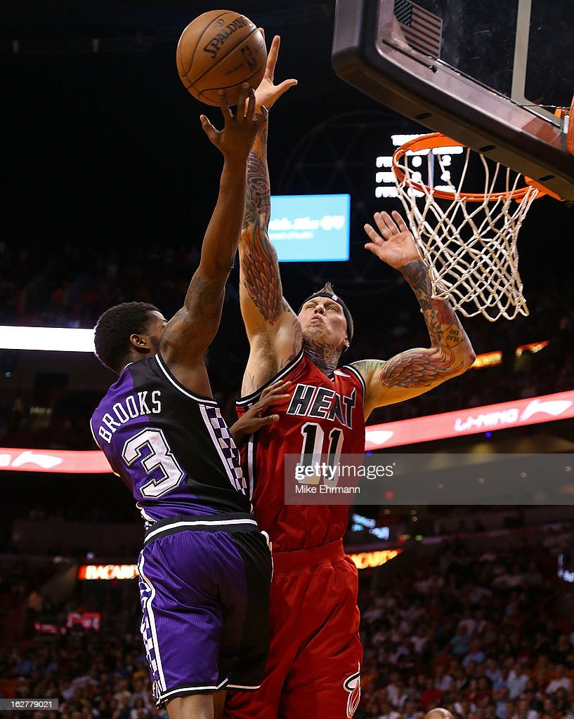 Sacramento kings v miami heat chris andersen 11 of the miami heat blocks aaron brooks 3 of the sacramento voltagebd Images