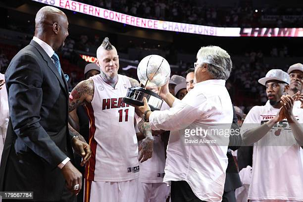 Chris Andersen of the Miami Heat celebrates with the Eastern Conference Championship trophy in Game Seven of the Eastern Conference Finals on June 3...