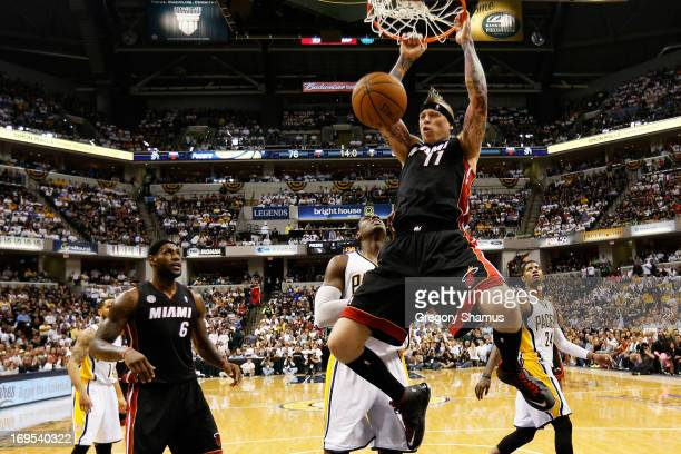 Chris Andersen of the Miami Heat dunks against the Indiana Pacers during Game Three of the Eastern Conference Finals at Bankers Life Fieldhouse on...