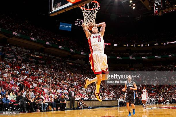 Chris Andersen of the Miami Heat dunks on a fast break against the Orlando Magic on April 17 2013 at American Airlines Arena in Miami Florida NOTE TO...