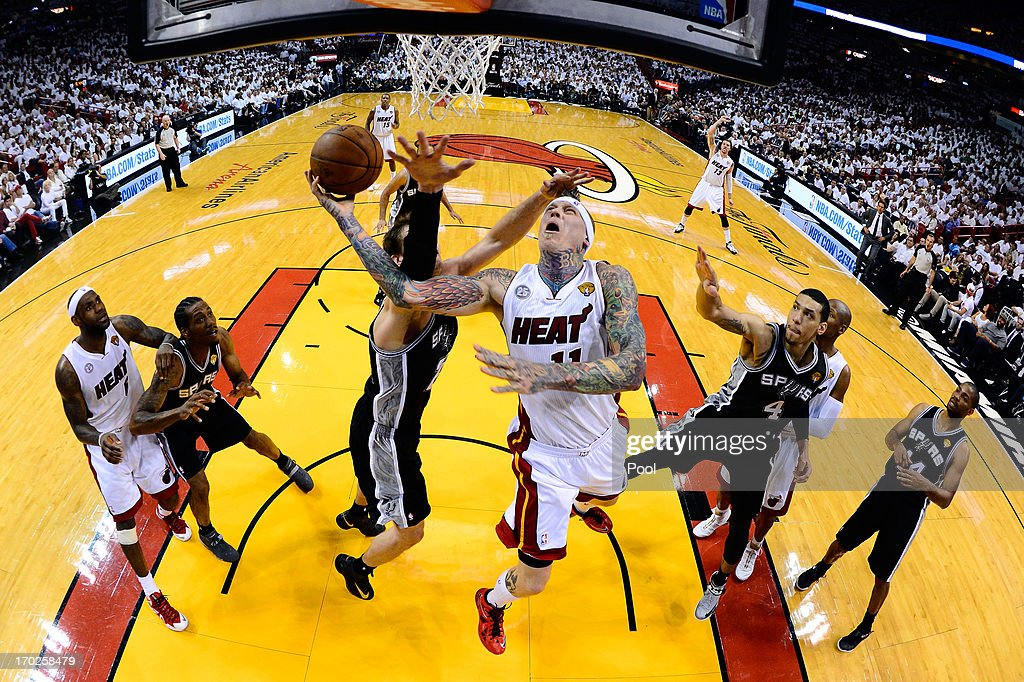 Chris Andersen #11 of the Miami Heat goes up for a shot against Tiago Splitter #22 of the San Antonio Spurs in the second half during Game Two of the 2013 NBA Finals at AmericanAirlines Arena on June 9, 2013 in Miami, Florida.