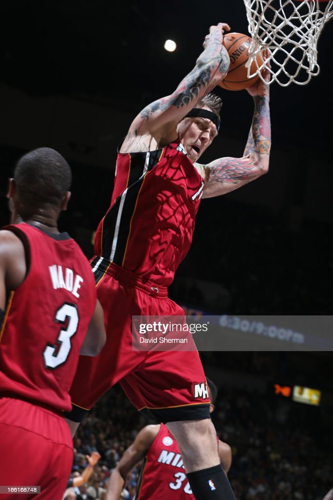 Chris Andersen #11 of the Miami Heat grabs a rebound against against the Minnesota Timberwolves on March 4, 2013 at Target Center in Minneapolis, Minnesota.