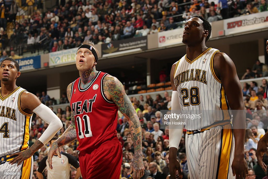 Chris Andersen #11 of the Miami Heat looks up at the basket against Ian Mahinmi #28 of the Indiana Pacers looks on February 1, 2013 at Bankers Life Fieldhouse in Indianapolis, Indiana.