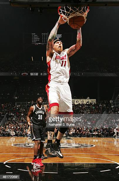 Chris Andersen of the Miami Heat shoots in a game against the Brooklyn Nets at the Barclays Center on January 10, 2014 in the Brooklyn borough of New...