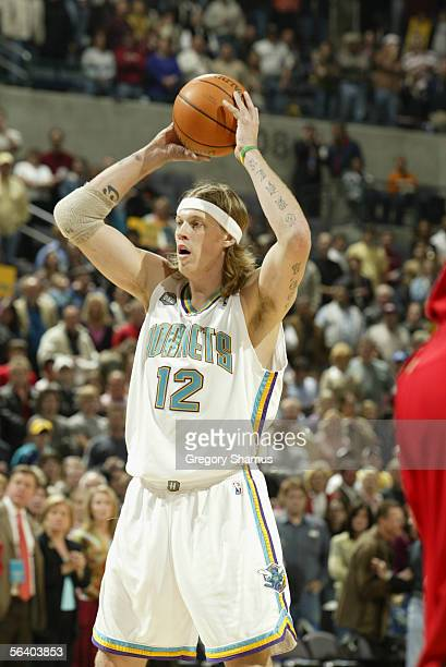 Chris Andersen of the New Orleans/Oklahoma City Hornets holds the ball during the game against the Atlanta Hawks at the Ford Center on November 18...