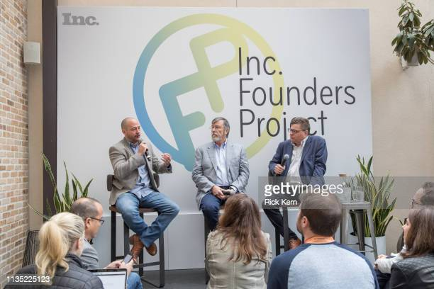 Chris Anderson founder and president Ledge Lounger Carey Smith founder Big Ass Fans and James Ledbetter editorinchief Inc and Inccom attend the Inc...