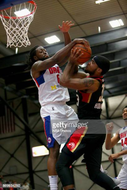 Chris Anderson of the Grand Rapid Drive blocks a shot against the Erie Bayhawks on November 3 2017 at DeltaPlex Arena in Grand Rapids MI NOTE TO USER...