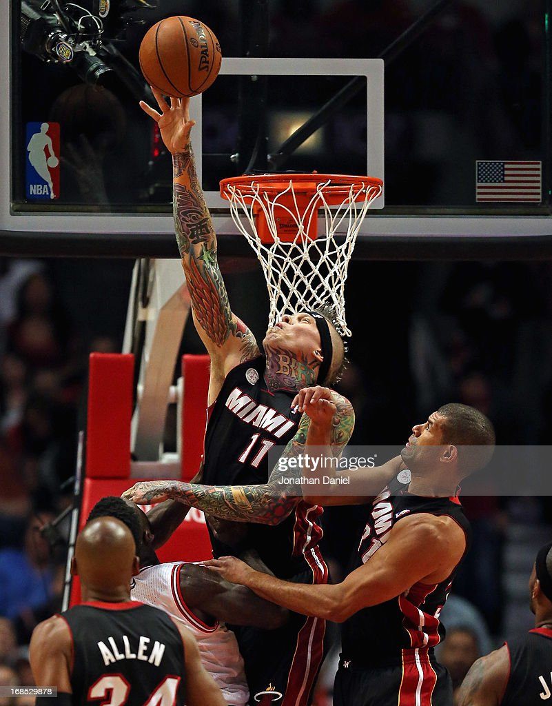 Chris Anderson #11 of the Miami Heat blocks a shot by Nate Robinson #2 of the Chicago Bulls in Game Three of the Eastern Conference Semifinals during the 2013 NBA Playoffs at the United Center on May 10, 2013 in Chicago, Illinois.