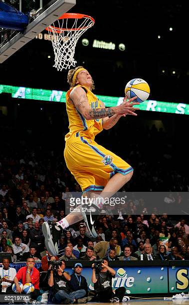 Chris Anderson of the New Orleans Hornets eyes the basket in the Sprite Rising Stars Slam Dunk compeition part of 2005 NBA AllStar Weekend at Pepsi...