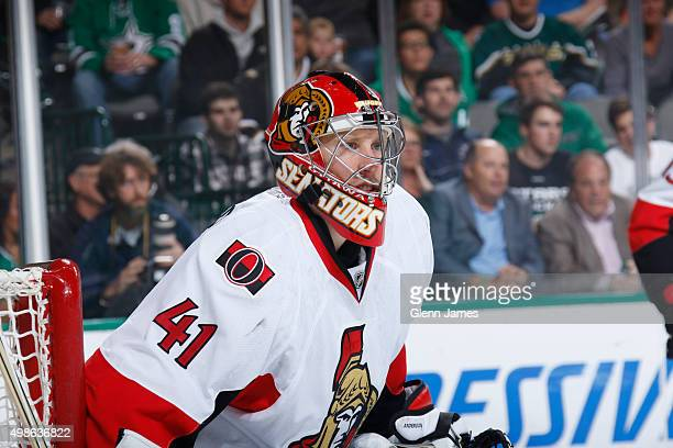 Chris Anderson of the Ottawa Senators tends goal against the Dallas Stars at the American Airlines Center on November 24 2015 in Dallas Texas