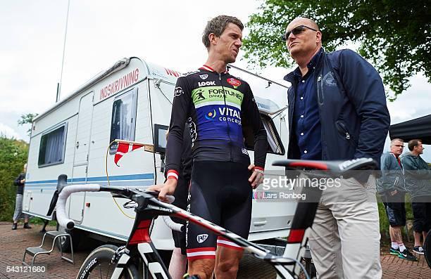 Chris Anker Sorensen of Fortuneo Vital Concept speaks to Bjarne Riis prior to the Elite Men Road Race Championships on day three of the Danish...