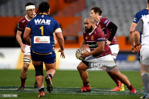 Chris Apoua of Southland makes a run with the ball during the round one Bunnings NPC match between Otago and Southland at Forsyth Barr Stadium, on...