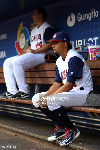 Chris Archer of Team USA looks on from the dugout prior to Game 2 Pool C of the 2017 World Baseball Classic against Team Colombia on Friday March 10...