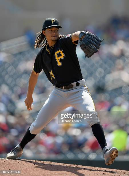 Chris Archer of the Pittsburgh Pirates delivers a pitch against the Minnesota Twins during the first inning of the interleague game on August 15 2018...