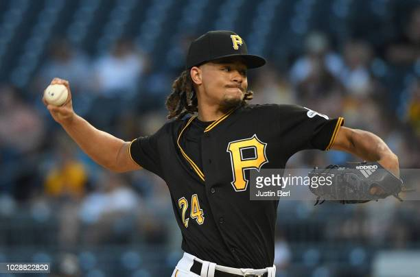 Chris Archer of the Pittsburgh Pirates delivers a pitch in the first inning during the game against the Miami Marlins at PNC Park on September 7 2018...