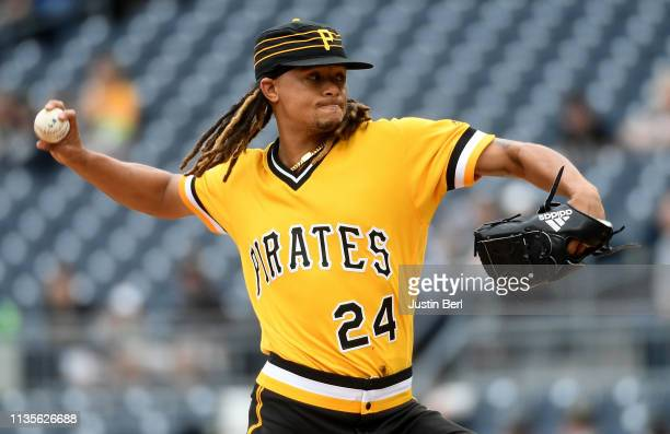Chris Archer of the Pittsburgh Pirates delivers a pitch in the first inning during the game against the Cincinnati Reds at PNC Park on April 7 2019...