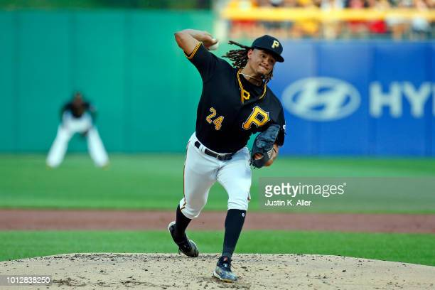 Chris Archer of the Pittsburgh Pirates in action against the St Louis Cardinals at PNC Park on August 3 2018 in Pittsburgh Pennsylvania