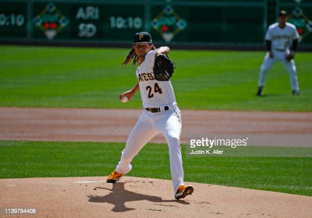 Chris Archer of the Pittsburgh Pirates in action against the St. Louis Cardinals on Opening Day at PNC Park on April 1, 2019 in Pittsburgh,...