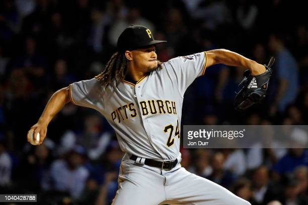 Chris Archer of the Pittsburgh Pirates pitches against the Chicago Cubs during the first inning at Wrigley Field on September 25 2018 in Chicago...