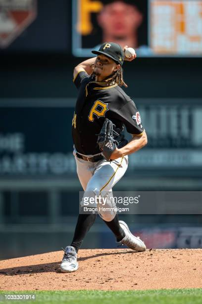 Chris Archer of the Pittsburgh Pirates pitches against the Minnesota Twins on August 15 2018 at Target Field in Minneapolis Minnesota The Twins...