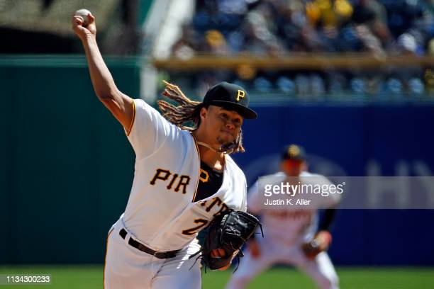 Chris Archer of the Pittsburgh Pirates pitches against the St. Louis Cardinals at the home opener at PNC Park on April 1, 2019 in Pittsburgh,...