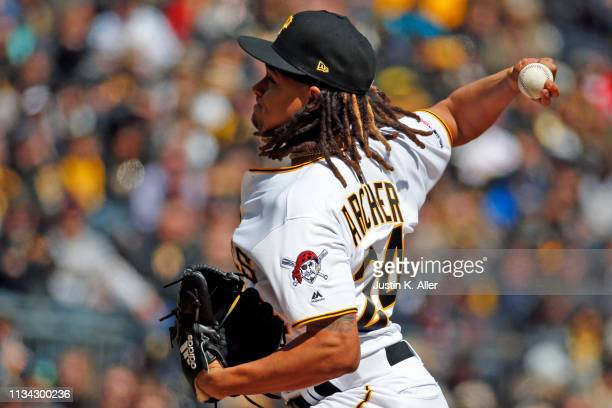 Chris Archer of the Pittsburgh Pirates pitches against the St Louis Cardinals at the home opener at PNC Park on April 1 2019 in Pittsburgh...