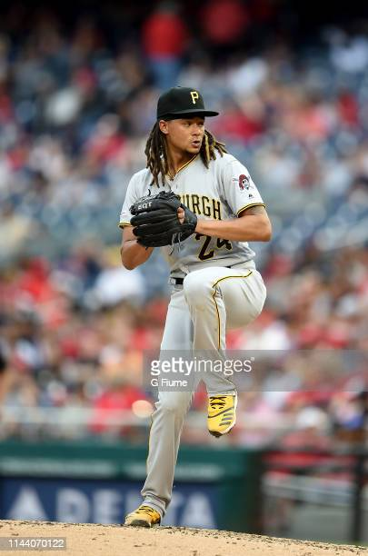 Chris Archer of the Pittsburgh Pirates pitches against the Washington Nationals at Nationals Park on April 13 2019 in Washington DC
