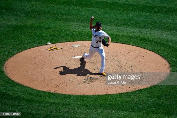 Chris Archer of the Pittsburgh Pirates pitches in the fifth inning against the St. Louis Cardinals at the home opener at PNC Park on April 1, 2019 in...