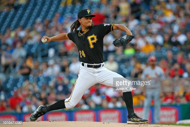 Chris Archer of the Pittsburgh Pirates pitches in the first inning against the St Louis Cardinals at PNC Park on August 3 2018 in Pittsburgh...